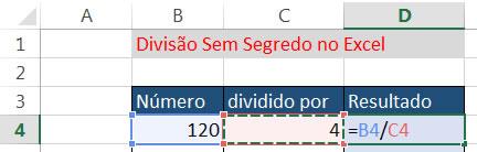 Dividir-numeros-usando-referências-de-célula-do-excel