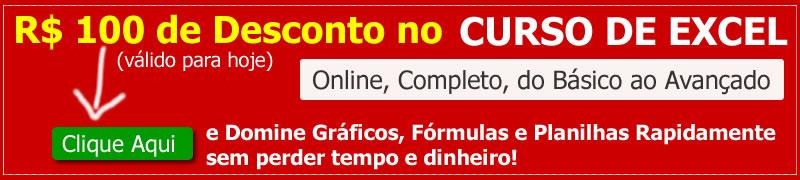 curso de excel completo e online com desconto promocional de 100 reais